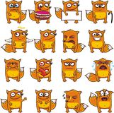 Funny foxes (2). 16 smiley foxes individually grouped for easy copy-n-paste. Vector Stock Image