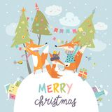 Funny foxes friends celebrating Christmas. Vector illustration Royalty Free Stock Images