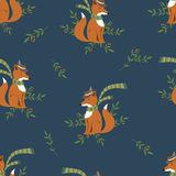 Funny foxy with scarf and hat pattern Stock Images