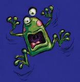 Freaked out frog. A funny fraked out frog shouting Royalty Free Stock Photos
