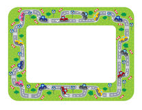 Funny frame or border with roads and cars. Royalty Free Stock Photo