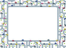 Funny frame or border with roads and cars. Funny frame or border of roads, grass areas and cars. Children vector illustration or background Royalty Free Stock Image