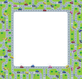 Funny frame or border with roads and cars. Stock Photography
