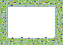 Funny frame or border with roads and cars. Stock Photo
