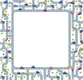 Funny frame or border with roads and cars. Royalty Free Stock Images