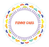 Funny frame with cars Royalty Free Stock Photos