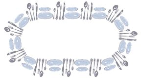 Plates, spoons, forks and knives arranged in a circle ellipse. A funny frame in the form of cutlery - plates, spoons, forks and knives arranged in a circle, for Stock Images