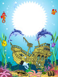 Funny frame with underwater sea life. The illustration shows the skeleton of a sunken ancient ship. Ship lies on the ocean floor, around floating fish  and Royalty Free Stock Photos