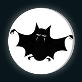 Funny freaky bat. A big black fat bat is smiling at you with a full moon (midnight silhouette Stock Photography