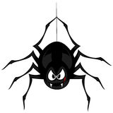 Funny freaky spider. A black cartoon-style spider is snarling and licking mouth with angry eyes while hanging on his spider thread Stock Photos