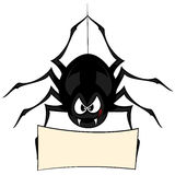 Funny freaky spider. A black cartoon-style spider is snarling and licking mouth with angry eyes while hanging on his spider thread and holding a board (your text Stock Photos