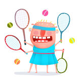 Funny freaky tennis player monster Stock Photo