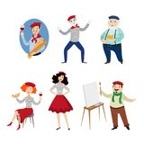 Funny French characters, people, food and culture Stock Photos