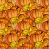 Funny and fresh autumn seamless pattern with pumpkins. Original Royalty Free Stock Photography