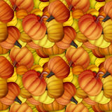 Funny and fresh autumn seamless pattern with pumpkins. Original Stock Photos