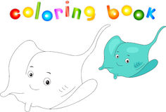 Funny and friendly cartoon electric stingray. Coloring book Stock Photo