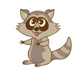 Funny friendly raccoon in cartoon style Royalty Free Stock Images