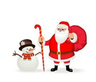 Funny friendly Santa Claus and snowman. Isolate, without gradients Royalty Free Stock Photo