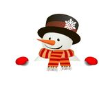 Funny friendly Snowman over white blank. Isolate, without gradients Stock Images