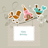 Funny friends. On a tree branch; happy birthday card Royalty Free Stock Images
