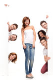 Funny friends advertising royalty free stock photo