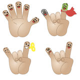 Funny friends-fingers. Isolated hand icons with funny faces expressing different emotions Royalty Free Stock Photo