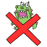 Funny frightened dinosaur and red cross mark. Vector illustration Royalty Free Stock Photos