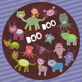 Funny frightening monsters on purple striped background party card design. Vector Stock Photo