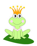 Funny frog. Illustration of cute frog-princess sitting on a leaf Royalty Free Stock Photo