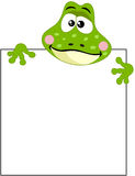 Funny frog with blank sign Royalty Free Stock Photo
