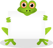 Funny frog cartoon with blank sign Stock Photo