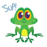 Funny Frog Cartoon Character saying `Sup`. Vector illustration. Funny Frog Cartoon Character saying `Sup`. Vector illustration Stock Photo