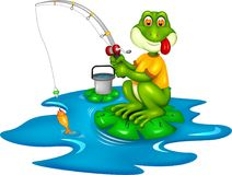Funny frog cartoon fishing with smiling. Vector illustration of funny frog cartoon fishing with smiling Stock Image