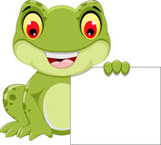 Funny frog cartoon holding a blank sign Royalty Free Stock Photography