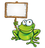 Frog with signboard. Funny Frog  cartoon with signboard Stock Photos