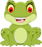 Funny frog cartoon sitting Stock Image