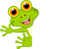 Funny frog cartoon wwith blank sign Royalty Free Stock Photography