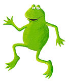 Funny frog dancing on the left Stock Images