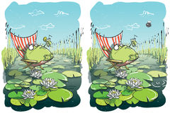 Funny Frog Differences Visual Game Royalty Free Stock Photos
