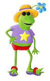Funny frog going to beach Royalty Free Stock Images