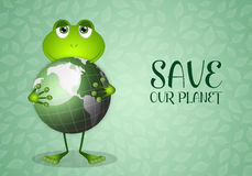 Funny frog with green earth Stock Images