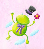 Funny frog jumping Stock Image