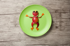 Funny Frog made of apple stock photo
