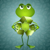 Funny frog with recycle symbol Stock Photos