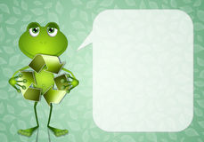 Funny frog with recycle symbol Royalty Free Stock Photo