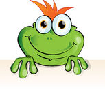 Funny frog with signboard Royalty Free Stock Photo