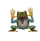Funny frog sticking out tongue isolated Royalty Free Stock Image