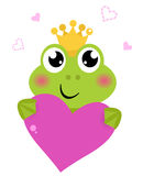 Cute frog holding Pink Heart Royalty Free Stock Images