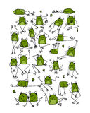 Funny frogs collection, sketch for your design Royalty Free Stock Image