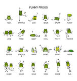 Funny frogs collection, sketch for your design. Vector illustration Stock Images